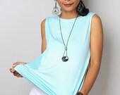 Light Blue Top / Sleeveless Blue T Shirt / Blue Tank Top : Urban Chic Collection No.4