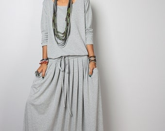 Long Maxi Dress - Light Grey Long Sleeve dress : Autumn Thrills Collection No.1s (Best Seller)