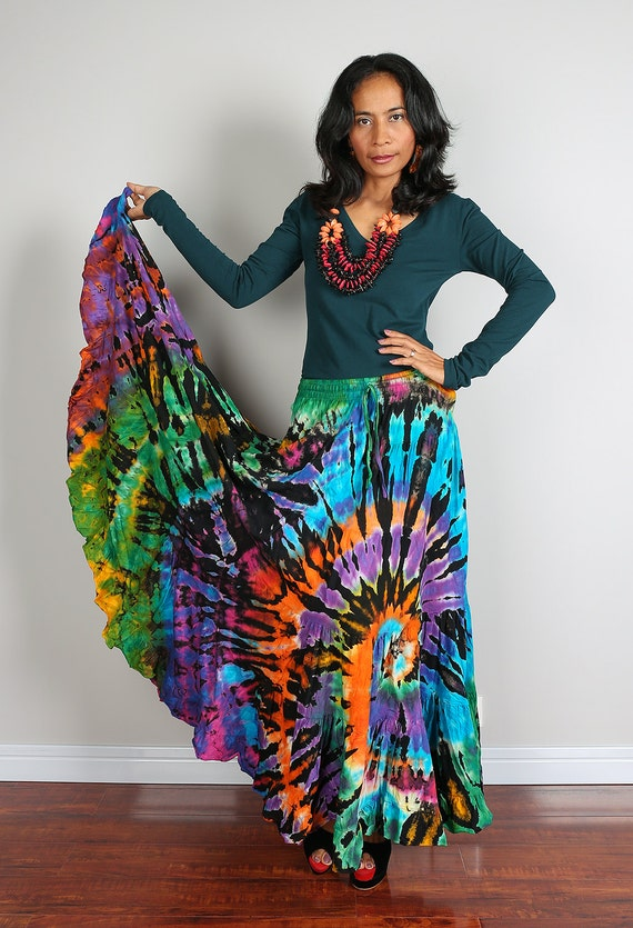 maxi skirt hippie tie dye skirt funky collection