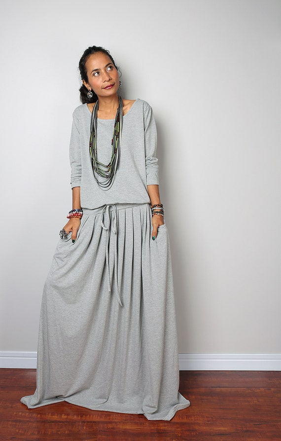 Long Grey Dresses uk Long Maxi Dress Light Grey