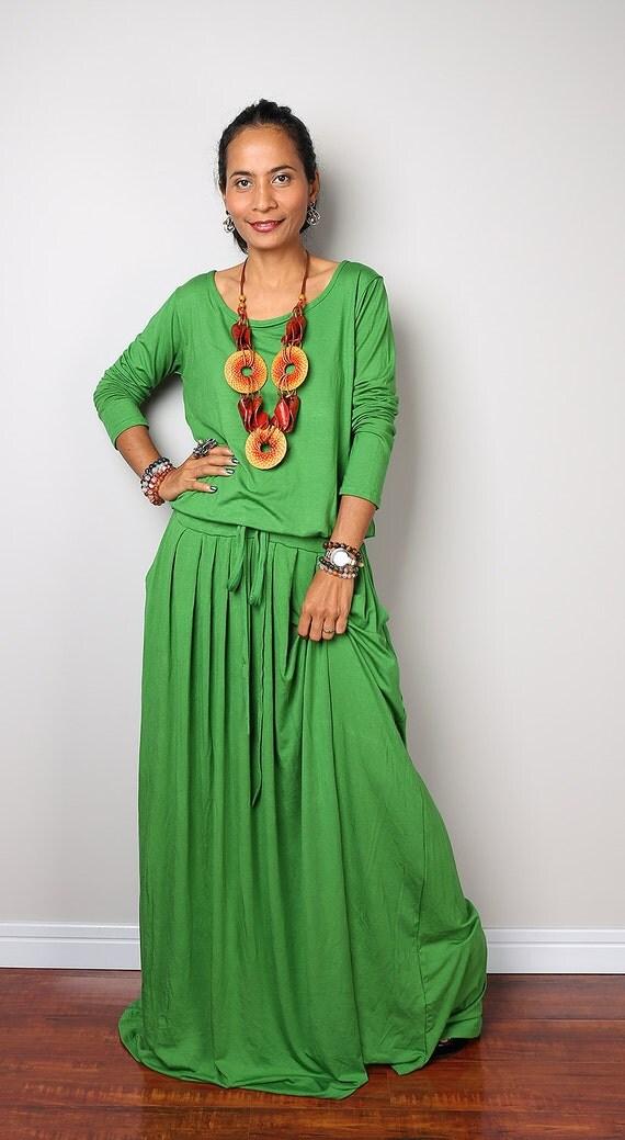 Green Maxi Dress Soft Green Long Sleeve Dress : Autumn