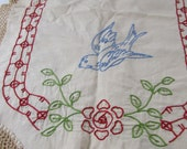 Vintage Colorful Birds  Embroidered Buffett Runner, Vintage  Bureau Scarf , Vintage Runner with Crocheted Edge