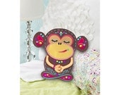 Funny Monkey Felt Pillow Puffs Kit. Jumbo pillow No-Sew easy DIY crafts