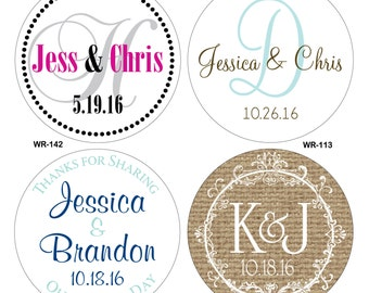 360 - 1.25 inch Custom Glossy Waterproof Wedding Stickers Labels - hundreds of designs to choose - change designs to any color or wording