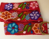 "Handmade Embroidered women's belt size 28"" to 37"" in red, organic"