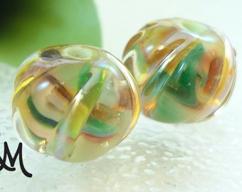 Lampwork Bead Pair - 'Sprouts'