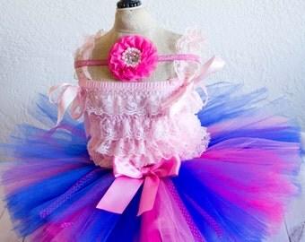 Anna Inspired Birthday Tutu Set Includes Headband blue and pink tutu, birthday tutu, cake smash tutu