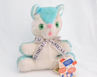 "Vintage Aqua Blue Musical Stuffed Plush 10"" Cat - Rock A Bye Baby - Working Condition with Original Tags - Kitten Kitty - 1960's"