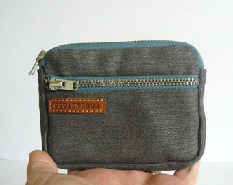 Minimalist Mens wallet /3 zips retro gray waxed canvas coin purse with teal zippers/wallet-pocket size wallet-canvas purse-gift for him
