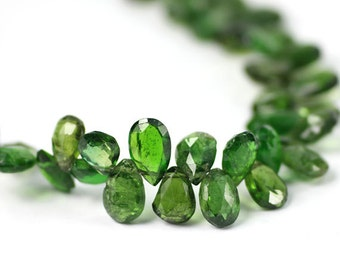 Chrome Diopside Micro Faceted Pear Briolettes 3 Green Semi Precious Gemstones