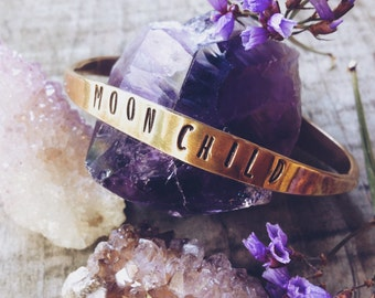 Moon Child Cuff Bracelet - Tapered Brass, Universe Jewelry, Space, Celestial, Cosmic Bohemian Gypsy, Wanderlust Manifestation, Stamped, Boho