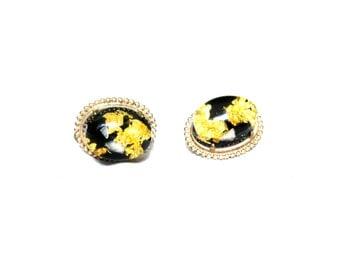 Cuff Links Starry Black Gold Flecks Large Focal