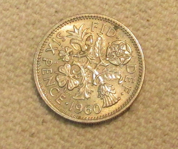 6 Pence Wedding Gift : Great Britain sixpence, 1960, Wedding 6 pence, world coin of the mid ...