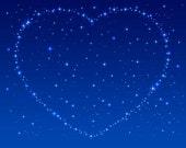 Heart Made of Stars Night Sky - Digital Image - Vintage Art Illustration