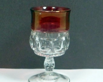 Sale Glass Wine Stem Tiffin Kings Crown 4 oz Ruby Flashed Vintage 1950s Mid Century