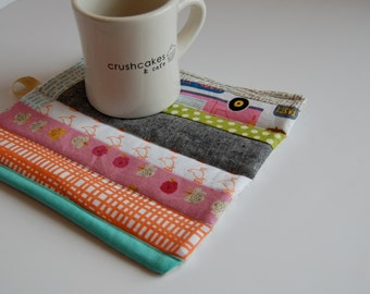 Quilted Hot Pads/Trivets/Coasters- Modern With Designer Cottons and Linen- Set of 2