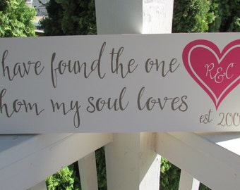 "Custom family sign with Bible verse ""I have found the one whom my soul loves"" a heart with initials, est. date  LR-055"