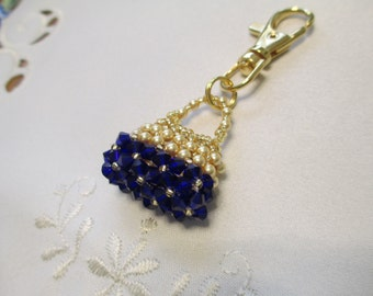 Crystal Purse Charm or Zipper Pull in Royal Blue