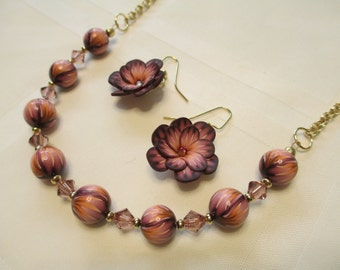 Polymer Clay Floral Bead Necklace Set in Peach