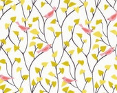 House & Garden - Tweetly Tweet Pink Organic Cotton Fabric from Cloud 9