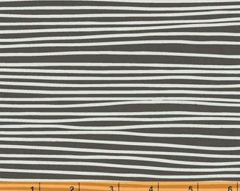 Follie - Korke - Stripes - Charcoal Brown Cotton Print Fabric by Lotta Jansdotter from Windham Fabrics