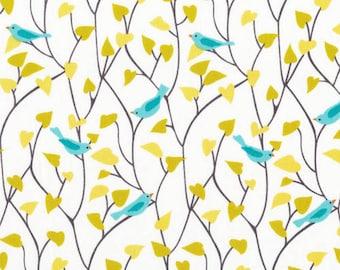 House & Garden - Tweetly Tweet Blue Organic Cotton Fabric from Cloud 9