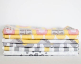 Haven by Monalua 2 Organic Cotton Fabric Bundle -  Fat Quarter Bundle - 6 quarter fat pieces (B322)