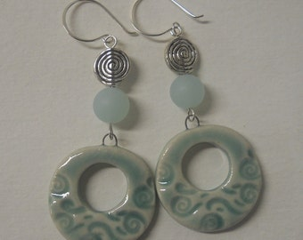 Porcelain Patterned Hoop Earrings with Silver Spiral Beads