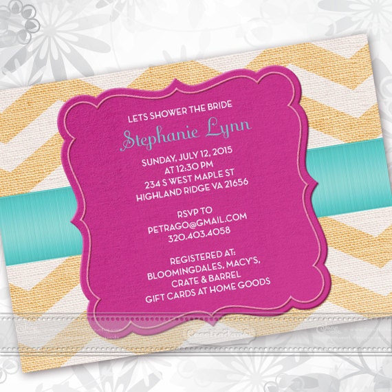 bridal shower invitations, yellow chevron and fuchsia bridal shower invitations, fuschia graduation invitations, baby shower ideas, IN367