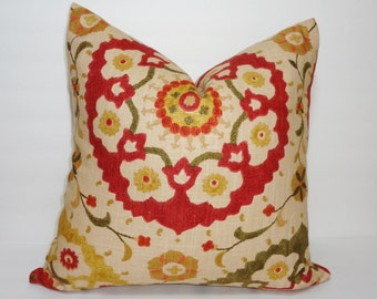 INVENTORY REDUCTION Richloom Cornwall Spice Suzani Print Linen Pillow Cover Decorative Pillow Cover 18x18
