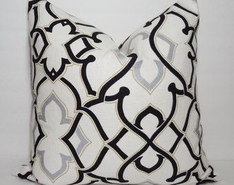 INVENTORY REDUCTION 3Park Black & Silver Geometric Pillow Cover Decorative Throw Pillow Size 18x18
