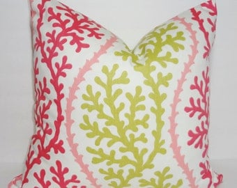 Ocean Coral Pink & Citrine Pillow Cover Nautical Pink Coral Pillow Cover 18x18