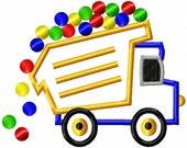 Dump Truck - Balls - Applique - Machine Embroidery Design - 6 sizes
