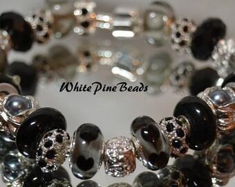 European Bracelet, Murano European Bracelet, European Style Bracelet, Murano Glass Bead BraceletBlack, Gray and Silver  FREE SHIPPING