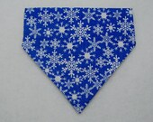 Dog Collar Bandana, Dog Bandana, Slide On Bandana, Christmas Royal Snowflakes, SMALL