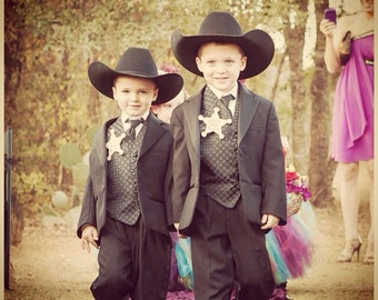 Ring Bearer Gift Official Ring Bearer Badge for Rustic Wedding Set of 2 For Two Special Boys Western Chic Wedding
