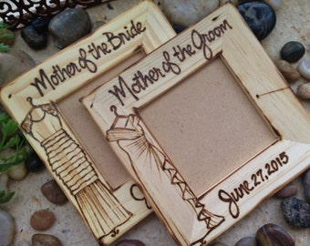 Wedding Gifts for the Moms, Mother of the Bride Mother of the Groom Set of 2 Hand Engraved Dress Replicated Custom Wood Frames Personalized