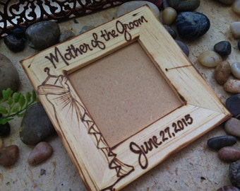 Wedding Gifts for the Moms, Mother of the Bride OR Mother of the Groom Hand Engraved Dress Replicated Custom Wood Frames Personalized Gifts