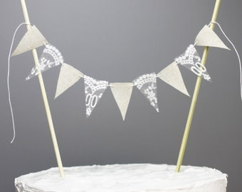 Natural Cotton and Lace Rustic Cake Topper, Rustic Wedding Decor, Cottage Chic Cake Bunting, Lace Shabby Cake Banner, Birthday Centerpiece