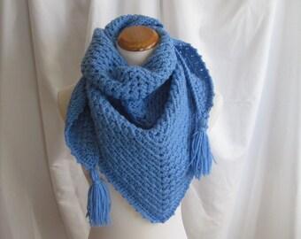Crochet Triange Scarf Shawl - Blue - With Tassels