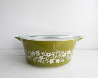 Vintage Pyrex Spring Blossom 475 Casserole Dish with Lid - Large Round Covered Glass Serving Bowl