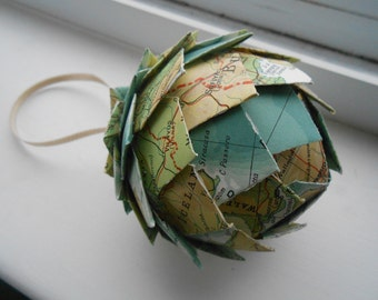 Vintage Map Paper Ball Ornament. Decoration, Christmas, Gift, Birthday, Anniversary, Wedding.