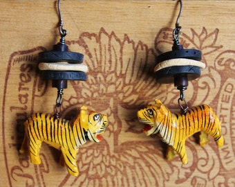 Vintage Tiger and Handmade Clay Jungle Earrings