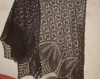 SALE !!! Hand knitted wool shawl stole wrap brown