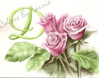 Personalized Monograms Commissioned 11x14 Watercolor Painting