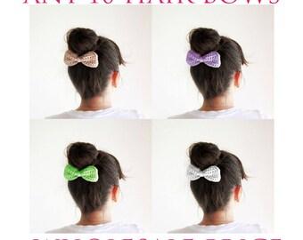 Wholesale hair bows, wholesale hair accessories, 10 crochet hair bows, hain bun bows, Girls hair accessories, fashion hair accessories