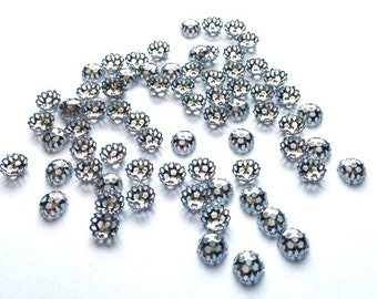 Antique Silver Nickel Plated 6mm Rosary Filigree Bead Cap, 144 pieces, Antique Silver Bead Cap, 6mm Silver Bead Cap, 6mm Filigree Bead Cap