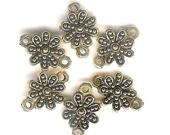 DOLLAR DEAL, Clearance, Antique Gold Bali Daisy Flower Connector-6 pieces-lead free