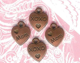 Tierra Cast Antique Copper Mom, XOXO, Heart Charm- 4 pieces