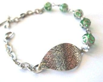 Antiqued silver leaf bracelet green crystal jewelry green bracelet